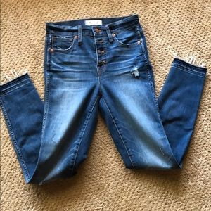 "Madewell 10"" skinny raw hem button jeans"